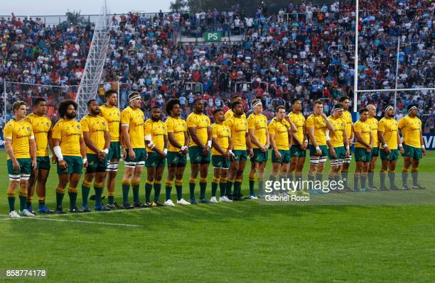 Players of Australia line up for the national anthem prior to The Rugby Championship match between Argentina and Australia at Malvinas Argentinas...