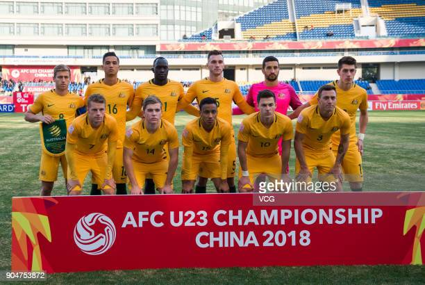 Players of Australia line up prior to the AFC U23 Championship Group A match between Vietnam and Australia at Kunshan Sports Center on January 14...