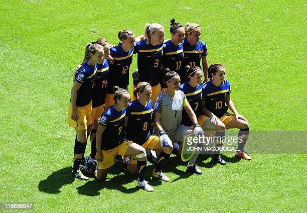 Players of Australia pose for a group photo prior to the quarterfinal match of the FIFA women's football World Cup Sweden vs Australia on July 10...