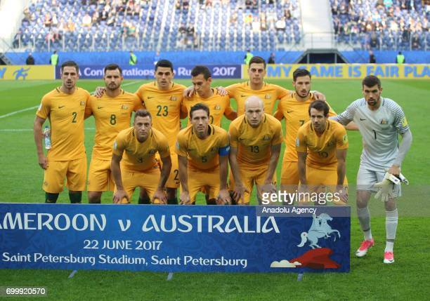 Players of Australia pose for a photo ahead of the Confederations Cup 2017 match between Cameroon Australia at SaintPetersburg Stadium in St...