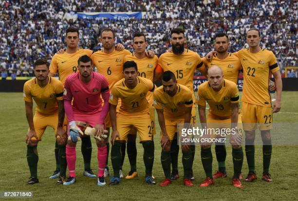 Players of Australia pose for pictures before the start of the first leg football match of their 2018 World Cup qualifying playoff against Honduras...