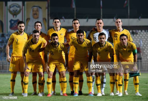 Players of Australia pose for team photograph prior to the International Friendly match between Kuwait and Australia at Al Kuwait Sports Club Stadium...