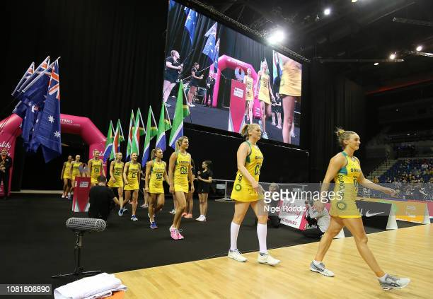 Players of Australia walk out ahead of the Vitality Netball International Series match between South Africa and Australian Diamonds as part of the...