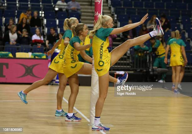 Players of Australia warm up ahead of the Vitality Netball International Series match between South Africa and Australian Diamonds as part of the...