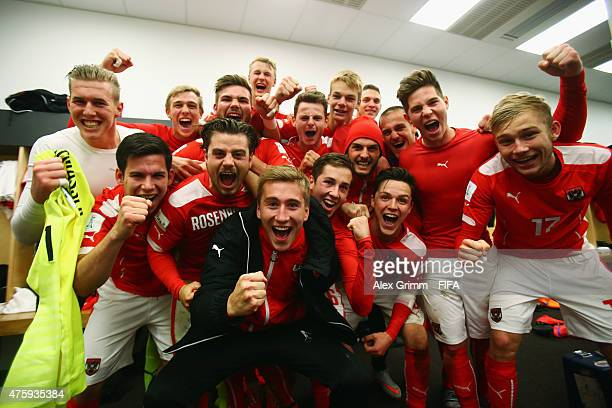 Players of Austria celebrate after the FIFA U20 World Cup New Zealand 2015 Group B match between Austria and Argentina at Wellington Regional Stadium...