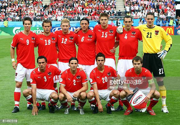 Players of Austria line up prior to the UEFA EURO 2008 Group B match between Austria and Croatia at Ernst Happel Stadion on June 8, 2008 in Vienna,...