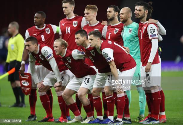 Players of Austria pose for a team photograph prior to the FIFA World Cup 2022 Qatar qualifying match between Scotland and Austria on March 25, 2021...