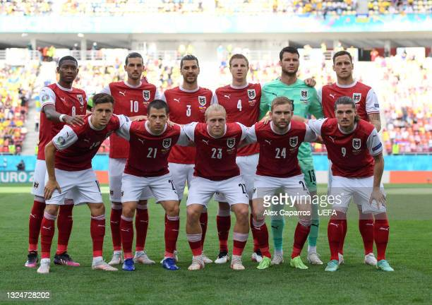 Players of Austria pose for a team photograph prior to the UEFA Euro 2020 Championship Group C match between Ukraine and Austria at National Arena on...