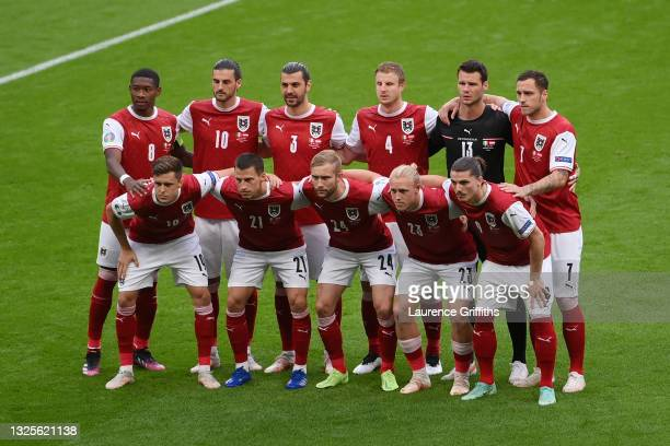 Players of Austria pose for a team photograph prior to the UEFA Euro 2020 Championship Round of 16 match between Italy and Austria at Wembley Stadium...