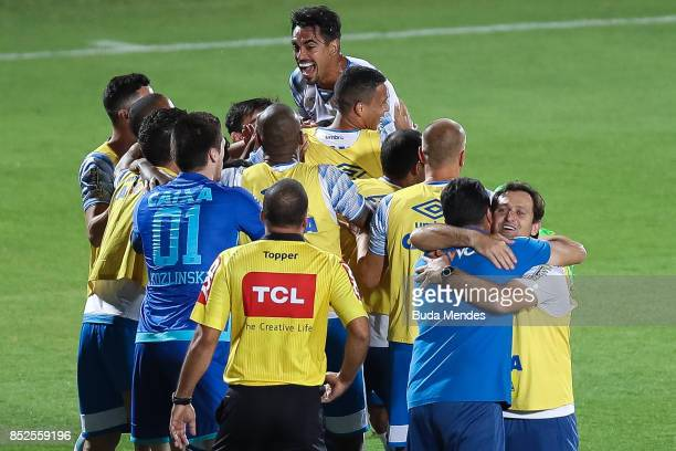 Players of Avai celebrate a scored goal during a match between Flamengo and Avai as part of Brasileirao Series A 2017 at Ilha do Urubu Stadium on...