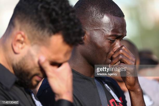 Players of Aytemiz Alanyaspor mourn during a ceremony held for Czech striker of Turkish football club Alanyaspor Josef Sural at the club facility in...