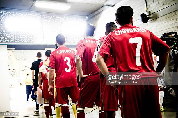 Players of Azerbaijan wait before entering the pitch fot the FIFA Futsal World Cup Group F match between Azerbaijan and Spain at Coliseo Ivan de...
