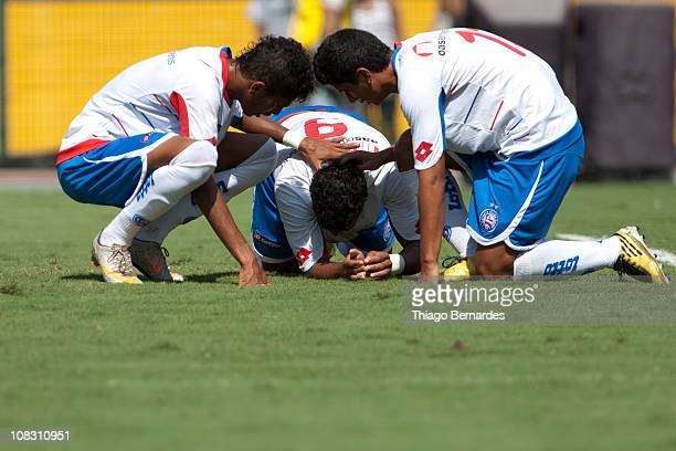 Players of Bahia celebrate a penalty kick whistled against Flamengo during a match as part of Sao Paulo Juniors Cup 2011 at Pacaembu stadium on...