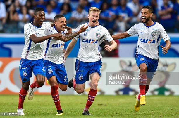 Players of Bahia celebrates a scored goal against Cruzeiro during a match between Cruzeiro and Bahia as part of Brasileirao Series A 2018 at Mineirao...