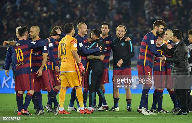 Players of Barcelona celebrate after the FIFA Club World Cup final match between River Plate and FC Barcelona at International Stadium Yokohama on...