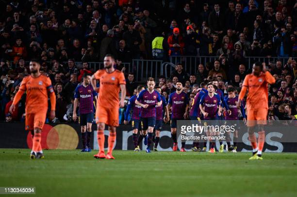 Players of Barcelona celebrate during the UEFA Champions League Round of 16 Second Leg match between Barcelona and Lyon at Camp Nou on March 13 2019...