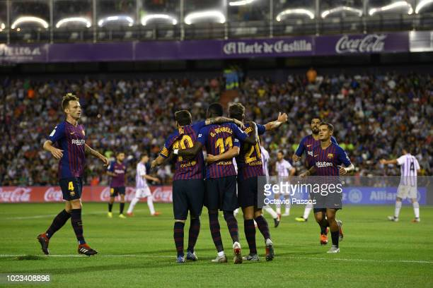 Players of Barcelona celebrates after Ousmane Dembele scores the first goal during the La Liga match between Real Valladolid CF and FC Barcelona at...