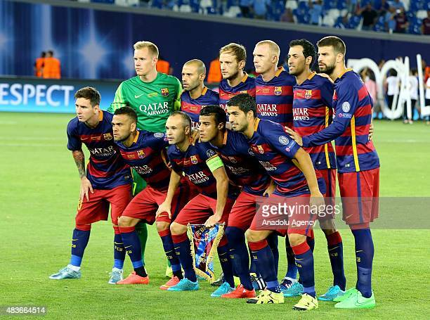 Players of Barcelona pose before UEFA Super Cup match between Barcelona and Sevilla at Boris Paichadze Dinamo Arena in Tbilisi on August 11 2015