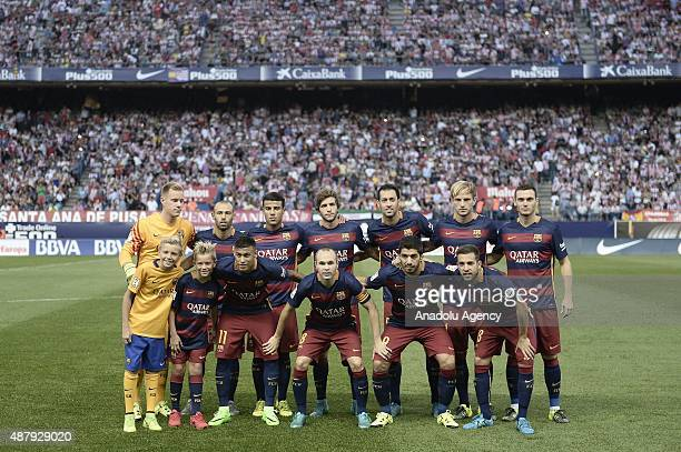 Players of Barcelona pose for a picture prior to the La Liga soccer match between Atletico Madrid and Barcelona at Vicente Calderon Stadium in Madrid...