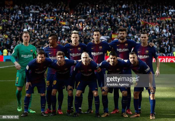Players of Barcelona pose for a team photo ahead of the La Liga match between Real Madrid and Barcelona at Santiago Bernabeu Stadium in Madrid Spain...