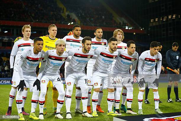 Players of Bayer Leverkusen pose for a photo prior to the UEFA Champions League Group E match between CSKA Moscow and Bayer Leverkusen at the CSKA...