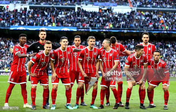 Players of Bayern are seen during the UEFA Champions League Semi Final Second Leg match between Real Madrid and Bayern Muenchen at the Bernabeu on...