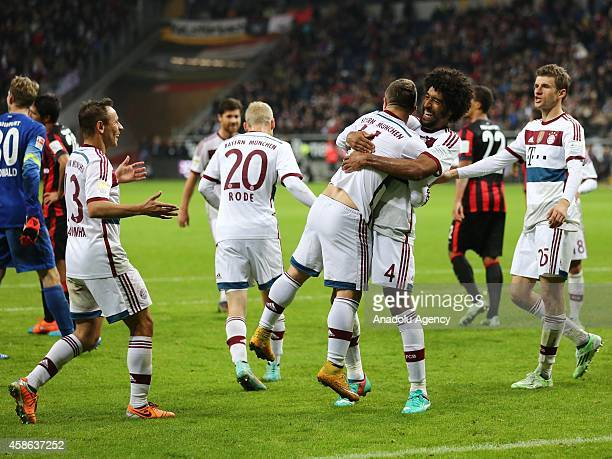 Players of Bayern München celebrate Shaqiri of Bayern München after his score action against their opponent during the Bundesliga soccer match...