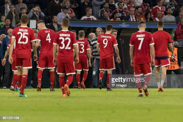 Players of bayern Muenchen looks dejected after the UEFA Champions League Semi Final First Leg match between Bayern Muenchen and Real Madrid at the...