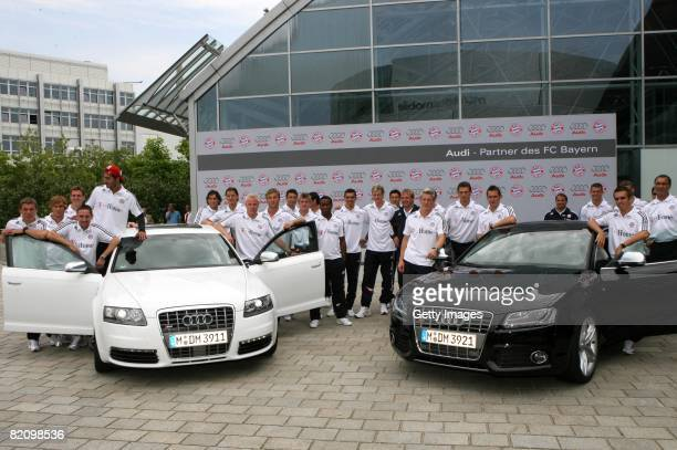 Players of Bayern Muenchen pose during the presentation of Bayern Muenchen's new cars made by Audi on July 29 2008 in Ingolstadt Germany
