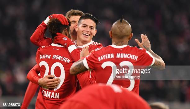 Players of Bayern Munich celebrate after scoring a goal during the Bundesliga soccer match between FC Bayern Munich and Hannover 96 at the Allianz...