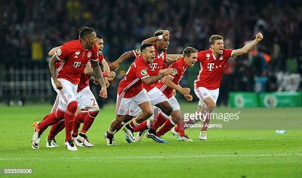 Players of Bayern Munich celebrate after the penalty shoot out of the German Cup final game between Borussia Dortmund and FC Bayern Munich in Olympic...