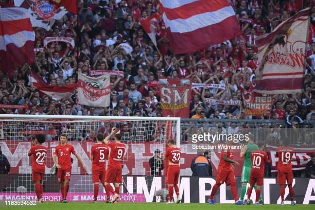Players of Bayern Munich celebrate with their fans after the Bundesliga match between FC Bayern Muenchen and 1. FC Union Berlin at Allianz Arena on...