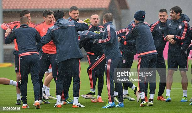 Players of Bayern Munich gather during a training session prior to the Champions League quarter final second soccer match between FC Bayern Munich...