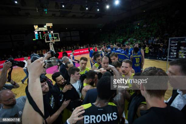 PLayers of bayreuth and Oldenburg during the easyCredit BBL match between medi bayreuth and EWE Baskets Oldenburg at Oberfrankenhalle on May 5 2017...
