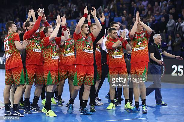 Players of Belarus celebrate after the 25th IHF Men's World Championship 2017 match between Belarus and Hungary at Kindarena on January 20 2017 in...