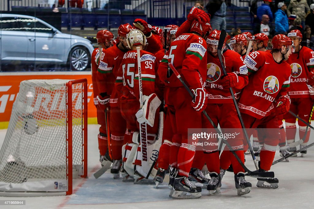 Players of Belarus celebrate after the IIHF World Championship group B match between Belarus and Slovenia at CEZ Arena on May 2, 2015 in Ostrava, Czech Republic.