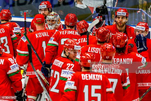 Players of Belarus celebrate after the IIHF World Championship group B match between Norway and Belarus at CEZ Arena on May 12 2015 in Ostrava Czech...