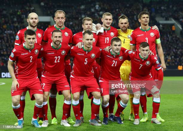 Players of Belarus pose for a team photo prior to the UEFA Euro 2020 Group C Qualifier match between Germany and Belarus on November 16 2019 in...