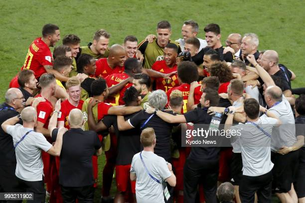 Players of Belgium and its staff celebrate after their team defeated Brazil 21 at a World Cup quarterfinal in Kazan Russia on July 6 2018 ==Kyodo