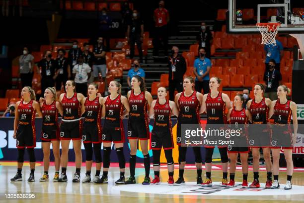 Players of Belgium came together before the Women's EuroBasket 2021 semifinal 2 match played between Serbia and Belgium at Fuente de Sant Luis...