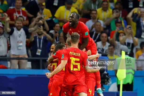 Players of Belgium celebrate after scoring a goal during of the 2018 FIFA World Cup Russia quarter final match between Brazil and Belgium at the...