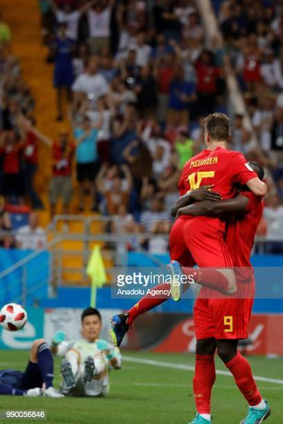 Players of Belgium celebrate after scoring a goal during the 2018 FIFA World Cup Russia Round of 16 match between Belgium and Japan at the Rostov...