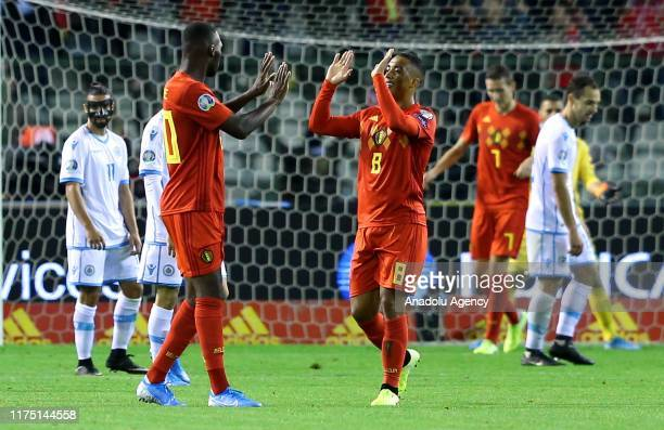 Players of Belgium celebrate after the UEFA Euro 2020 Qualifiers Group I match between Belgium and San Marino at the King Baudoin Stadium in...