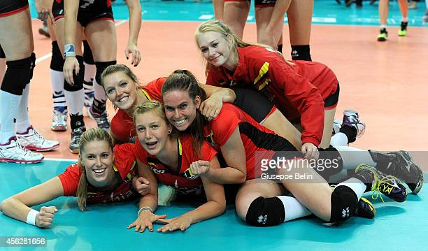 Players of Belgium celebrate the victory after the FIVB Women's World Championship pool D match between Belgium and Puerto Rico on September 28 2014...