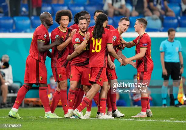 Players of Belgium celebrate their side's first goal, an own goal by Lukas Hradecky of Finland during the UEFA Euro 2020 Championship Group B match...