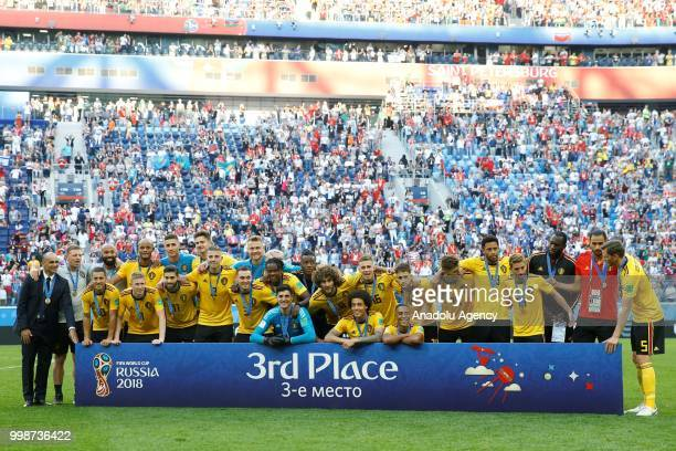 Players of Belgium celebrate third place title after the 2018 FIFA World Cup Russia PlayOff for Third Place between Belgium and England at the Saint...