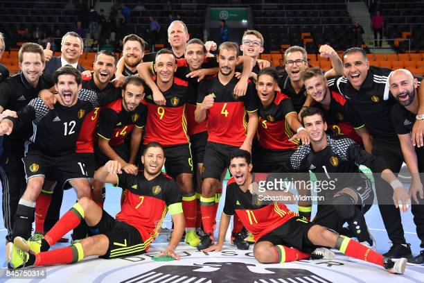 Players of Belgium celebrate winning the Futsal Four Nations Tournament at ratiopharm Arena on September 11 2017 in Ulm Germany