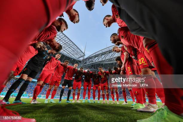 Players of Belgium form a huddle prior to the UEFA Euro 2020 Championship Group B match between Finland and Belgium at Saint Petersburg Stadium on...