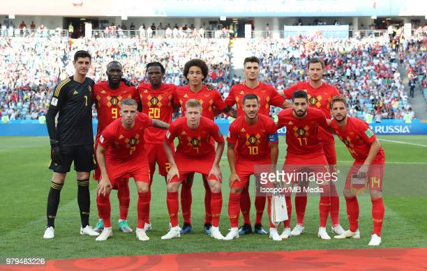 Players of Belgium pose for the team picture during the 2018 FIFA World Cup Russia group G match between Belgium and Panama at Fisht Stadium on June...