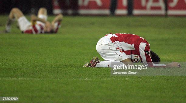 Players of Belgrade show their disappointment after loosing the UEFA Cup group F match between Crvena Zvezda and Bayern Munich at Crvena Zvezda...
